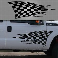"Vehicle Checkered Flag Graphic, Torn Checkered Flag Sticker - 36"" x 16"""