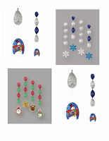 4 Christmas Foil Hanging Swirl Decorations - Christmas Characters or Snowflakes