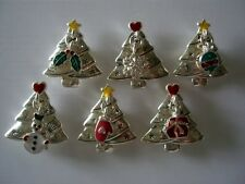 2 Hole Slider Beads Xmas Trees with Christmas Charms Mixed Colors #6