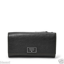 Fossil Original SL6676001 Black Dawson Flap Clutch Leather Women's Wallet