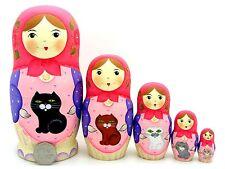 Russe dipinte a mano nidificazione bambole 5 OPACO BABUSHAKA & Gatti firmato