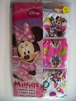 Minnie Mouse Girls Underwear Toddler 3 Pair Panty Pk Sz  2T-3T  4T Disney  NIP