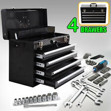 Portable Toolbox Locking Tool Chest Cabinet Garage Storage w/ 4 Drawers Black