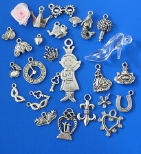 29+fairytale PRINCESS CHARMS W/GIFT BAG:frog prince,coach,glass slipper,&more