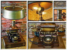 Repurposed Vintage Inspired Telephone Wood And Gold Antique Brass Upcycled Lamp
