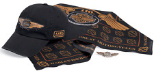 Rare Harley-Davidson Mens 110th Anniversary Cap, Bandana, Pin Ride Pack