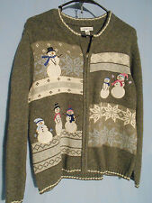 WOMENS UGLY CHRISTMAS SWEATER HOLIDAY CARDIGAN GRAY ZIP SNOWMEN PETITE MEDIUM
