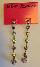Betsey Johnson Long Dangling Glass Bead Heart Earrings New with Tags MSRP $35