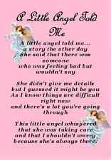 A Little Angel Told Me  Inspirational Message Rememberance Prayer Card