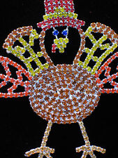 RHINESTONE PRONG SET FALL THANKSGIVING TOM TURKEY BIRD PIN BROOCH JEWELRY 3.5""