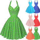Women's Vintage Halter Style 1950's Polka Dot Retro Swing Pin up Evening Dresses