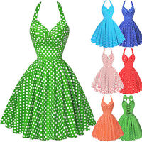 Womens Vintage Dress 50s 60s Polka Dots Halter Party Prom Swing Dress