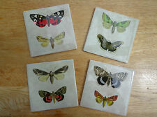 SHABBY VINTAGE CHIC BUTTERFLY MOTH COASTERS DRINKS MATS Ceramic Tile Set of 4