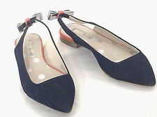 Boden Flat Shoes Size 37 US 6 Daniella Flat Point Slingback Indigo Blue 887770