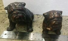 Pair of 2 BEAUTIFUL ENGLISH BULLDOG FIGURINEs heavy wood small and large statue