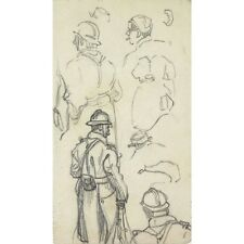 Lucien Ott (1870-1927), Antique French Drawing  Figure Sketch WWI Front Soldiers