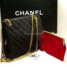 Rare! Authentic CHANEL Double Chain Shoulder Bag Crossbody Black Lambskin 577