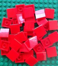 Lego Lot Of 50 New 2x2 Red Tiles Flat Smooth New Finishing Tiles