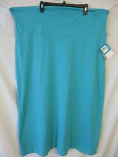 Columbia Cotton Blnd Plus 3X Turquoise Knit Maxi Full Length Skirt SR$70 NEW