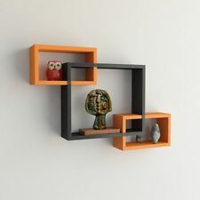 USHA Furniture Wall Shelf Set of 3 Rectangular Shelves Wall Decor - Black-Orange