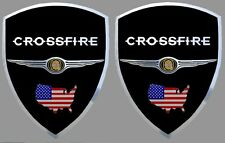 2 adhésifs stickers noir & chrome CHRYSLER CROSSFIRE (à coller sur ailes avant)