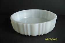 "Vintage Milk Glass Candy Nut Dish 2"" Tall 6.75"" Diameter Fluted Sides"