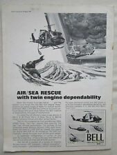 8/1970 PUB BELL HELICOPTER TEXTRON HUEY UH-1N AIR SEA RESCUE SAR ORIGINAL AD