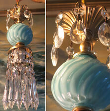 1of7 SWAG lamp chandelier crystal prism Vintage Swirl Aqua Blue tole Brass penda