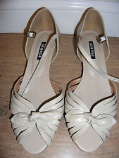 vintage 1940s WWII wartime landgirl dance peep toe beige strappy sandals shoes