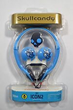 Skull Candy ICON 2 Blue On-Ear Headphones In-Line Mic iPod/iPhone Black White