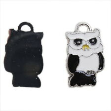10x 140162 New Fashion Charms Enamel Black Owl Alloy Pendants Fit Necklaces