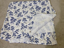 "Vintage Raw Silk Fabric Material White Blue Pattern 36""x136"" 3.8 sq yds New"