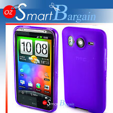 PURPLE Soft Gel TPU Cover Case For HTC Desire HD + Film