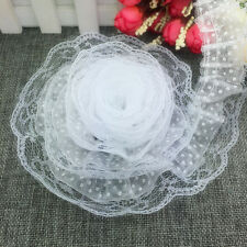 New 5 yards 2-Layer 50mm White Organza Lace Gathered Pleated Sequined Trim C#20