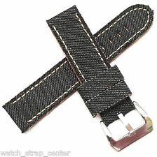 20mm 22mm 24mm Diloy Black Jeans Denim Canvas Watch Strap Band