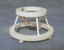 1:12th White Painted Wooden Baby Walker Dolls House Miniature Nursery Accessory
