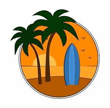 Surf Sticker Surfing Surfer Palm Trees Sticker Decal Graphic Vinyl Label