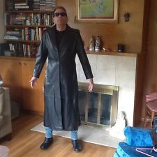 Black Soft lambskin Leather MATRIX Style Long Coat By Kasper Woman's XL /Men's L