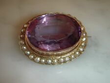 FABULOUS ANTIQUE VICTORIAN 15.00 CARATS AMETHYST & SEED PEARL 9 CT GOLD BROOCH