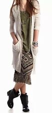 FREE PEOPLE Women Ivory Shadow Stripe Cardigan Sweater Tunic Lg! Large! NWT!$118