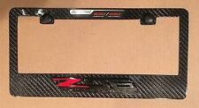 Real Carbon Fiber License Plate Frame with factory GM C7 Z06 and 650 HP Emblem