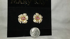 MARY KAY JEWELRY COLLECTABLES 2000/2011 GOLD FLOWER EARRINGS/RED STONES