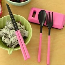 Portable Spoon Fork Chopsticks Plastic Reusable Tableware Set for Travel- Red