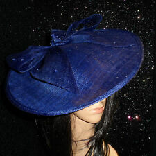 COBALT BLUE DISC FASCINATOR HAT ASCOT WEDDING OCCASION MOTHER OF THE BRIDE