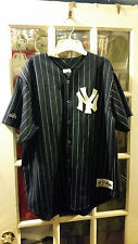 VINTAGE Majestic New York Yankees Blue Baseball Jersey Grey Pinstripes Adult XL