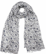 NEW FAT FACE BLUE WHITE WOODBLOCK FLORAL PRINT SEQUINS SCARF
