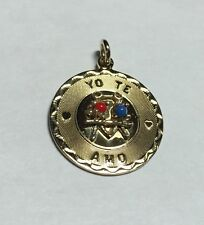 "Vintage NOS 1960's 12K Gold Filled Elco ""Yo Te Amo"" I Love You Medal Pendant"