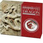 2012 $1 Year of the Dragon 1oz Coloured Silver Proof Coin CERIFICATE NUMBERED