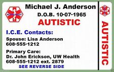 Medical Wallet Plastic ID Card AUTISM Personalized Medic 2 Sided Custom Autistic