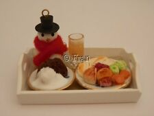 Dolls house food: Christmas dinner & cheristmas pud tray  -By Fran